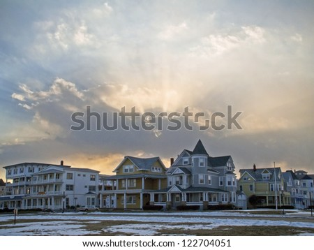 """Ocean Grove View""  A dramatic sky and Victorian style home in Ocean Grove as seen on this Winter day."
