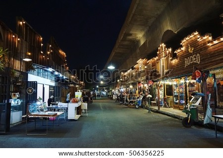 28 OCT 2016 Bangkok Thailand Siam gypsy junction Walking Street in night time - the market that decoration in country vintage style