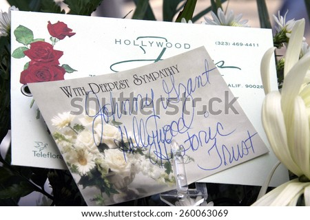 4 October 2004 - Hollywood, California - Flowers at the Hollywood's Walk of Fame star of the respected film actress Janet Leigh. - stock photo
