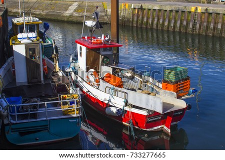 9 October 2017 Trawlers in the small harbour in the Ards Peninsula village of Portavogie in County Down, Northern Ireland