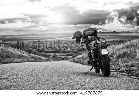 07 october 2015 - Vojvodina, Serbia. Motorcycle parked on the open road.
