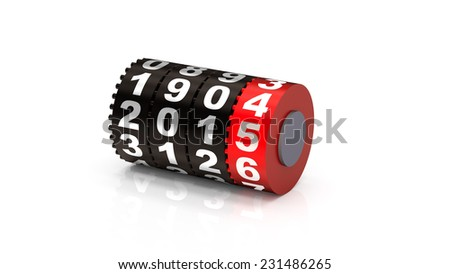 2015 Odometer. New Year concept illustration. Render image. - stock photo
