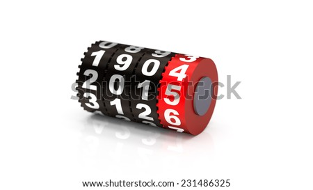 2015 Odometer. New Year concept illustration. Render image. depth of field - stock photo