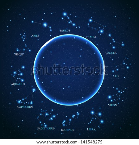 of the aries zodiac sign of the beautiful bright stars on the background of cosmic sky - stock photo