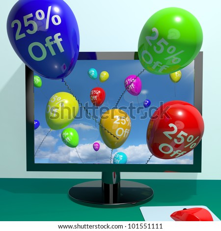 25% Off Balloons From Computer Shows Sale Discount Of Twenty Five Percent Online - stock photo