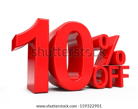 10% off 3D word isolated - stock photo
