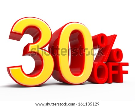30% Off 3D word Isolated