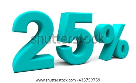 25% off. On sale. Products on sale. One quarter. 3D rendering. Isolated 3D text with big fonts on white background.