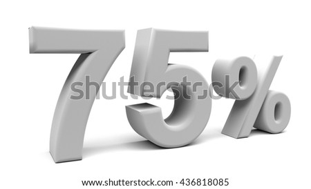75% off. On sale. Three quarters. 3D rendering. Isolated 3D text with big fonts on white background.