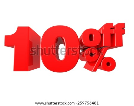 10% Off Promotional Sign Isolated on white background - stock photo