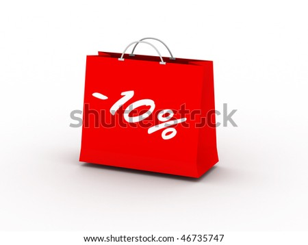 10% off. Red package isolated on white background. High quality 3d render. - stock photo