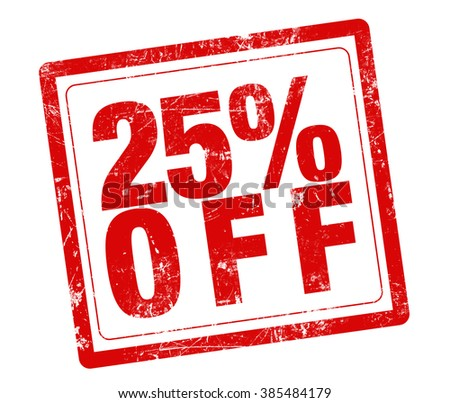 25% OFF red stamp text on white background - stock photo