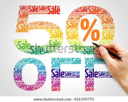50% OFF SALE word cloud, business concept background