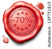 70% off sales summer or winter reduction extra low price buy for bargain limited offer icon red wax seal stamp - stock photo