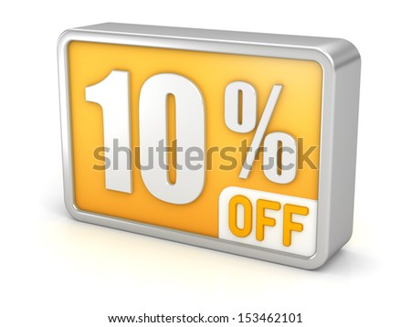 10% off, ten percent sale, 3d discount icon. Isolated on white background. Image with clipping path. - stock photo