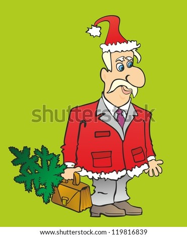 """""""Office Santa Claus and a Christmas tree with a briefcase"""" - stock photo"""