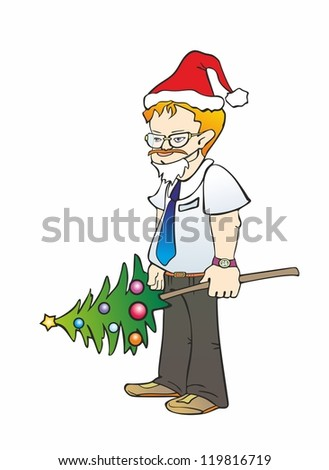 """office worker in glasses with a festive Christmas tree"""