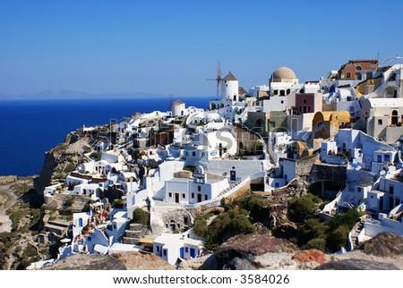 Oia village on Santorini island - stock photo
