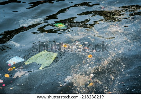 Oil and garbage pollution in the water. Selective focus with shallow depth of field.  - stock photo