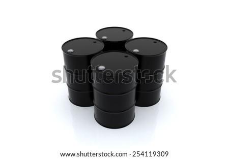 oil barrels  on white floor. 3D render background. - stock photo