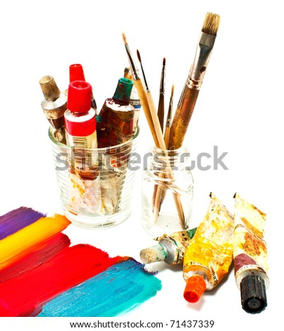 oil paints and brushes - stock photo