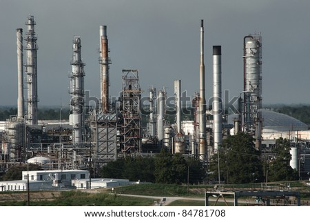 Oil refinery on the mississippi river near the gulf entrance - stock photo