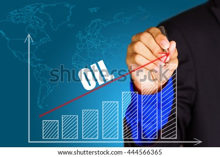 """OIL"" text with hand of young businessman point on virtual graph red line and bar showing on increasing with background -business, finance, salary, crisis, and development concept - stock photo"