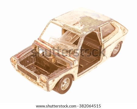 Old abandoned burned car isolated over white vintage - stock photo