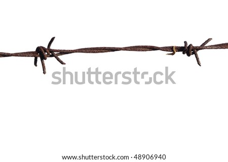 old barbed wire old security fence isolated on white for backgrounds, wire fence - stock photo