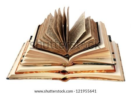 Old Books islolated on white background - stock photo
