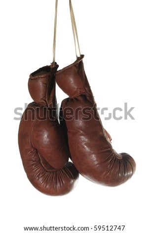 old boxing - glove on white background - stock photo