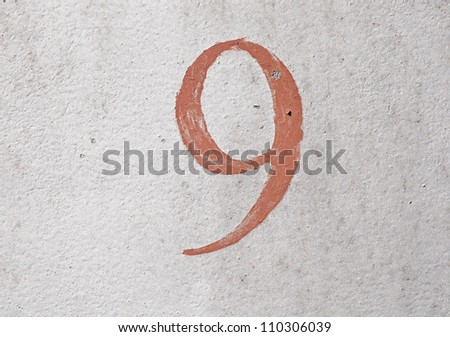 9 - old brown handwritten digit over grunge silver background - stock photo