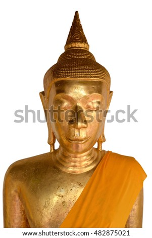 Old Buddha statue on white background
