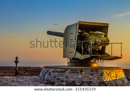 old cannon of a castle  - stock photo