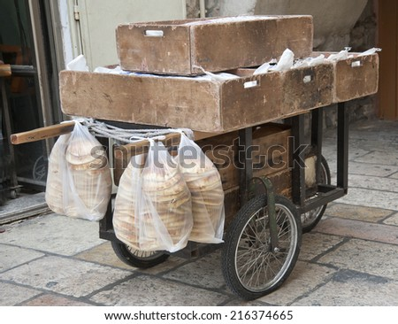 Old  cart  with pitta bread - stock photo