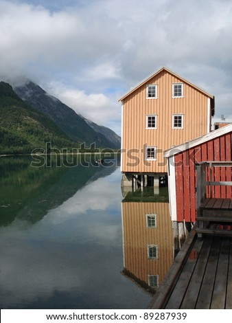 Old colored houses Mosjoen in Norway - stock photo