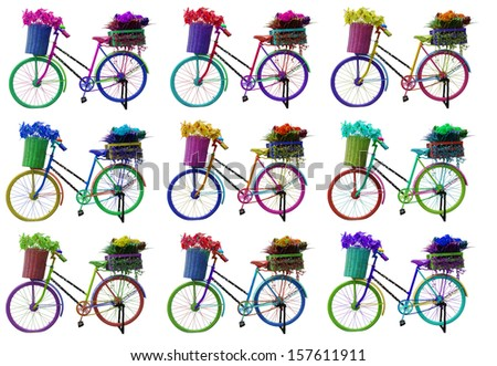 old colourful bike standing isolated on a white background - stock photo
