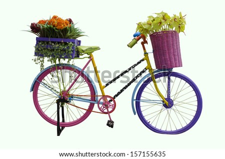 old colourful bike standing isolated on a white background with clipping path - stock photo