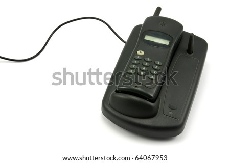 old cordless phone over a white background