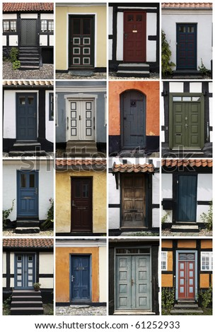 16 old doors in Denmark, Scandinavia. - stock photo