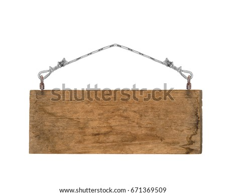 old empty wooden sign hanging on a rope on white background