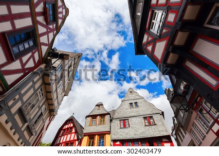 old framework houses in the old town of Limburg an der Lahn, Germany - stock photo