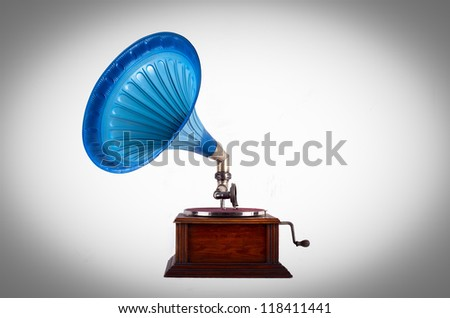 Old gramophone - stock photo