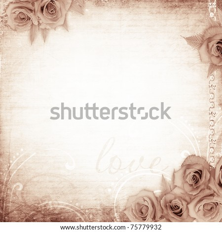 old grunge background  with roses - stock photo