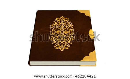 Old leather book with metal ornaments isolated on a white background - 3d render