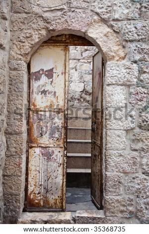 Old metal door.Old city.Jerusalem. - stock photo