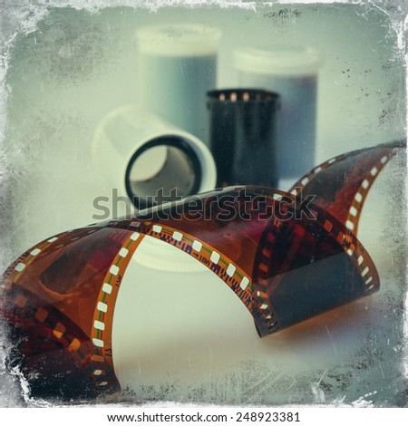 old negative 35mm film - stock photo
