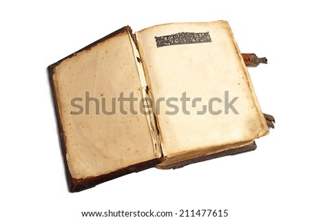 Old open book with blank pages isolated on white background - stock photo