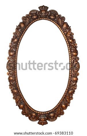 Old oval bronze frame, isolated on white background - stock photo