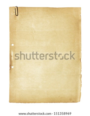 old paper  with old clip isolated on white background , with clipping path - stock photo